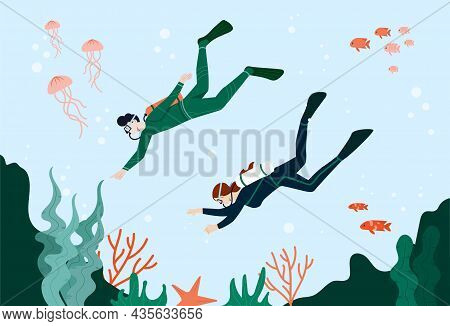 People Go Diving Concept. Man And Woman With Scuba Diving Swim To Bottom Of Ocean. Amazing Sea World