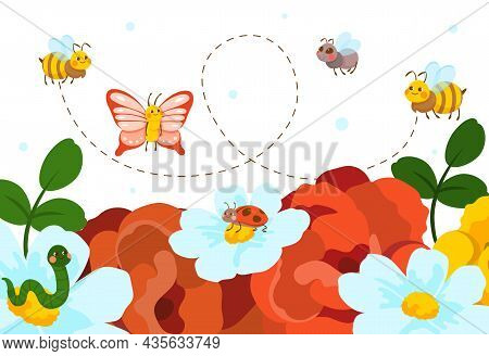 Cute Insects On Flowers. Butterflies Fly Among Plants, Pollination. Childrens Pictures, Images For D
