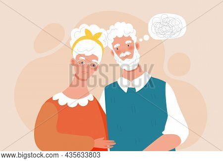 Elderly Husband With Dementia. Man Does Not Remember Moments Of His Life. Elderly Couple With Amnesi