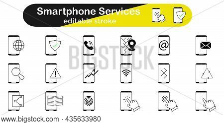Vector Smartphone Services Icon Set. Linear Mobile Phone Icons - Set Of Phone Icons, Communication I