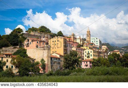 Ventimiglia, Italy - Circa August 2020: Panarama Of Ventimiglia Old Village In Liguria Region, Sunny