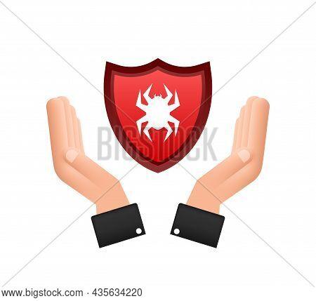 Danger Symbol Of Virus Over Hands Vector Illustration. Virus Protection. Computer Virus Alert. Safet