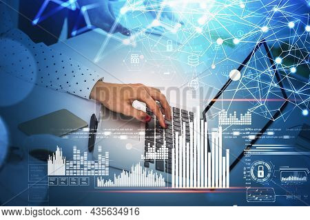 Businesswoman Hands Typing Laptop Keyboard, Blue White Glowing Information Security Padlock, Busines
