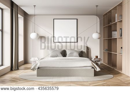 Light Bedroom Interior With Bed And Pillows, Parquet Floor And Bookshelf With Vase And Books, Front