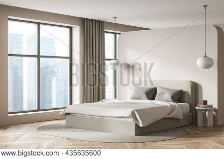 Beige Bedroom Interior With Bed And Pillows, Parquet Floor And Coffee Tables With Lamps. Mockup Copy