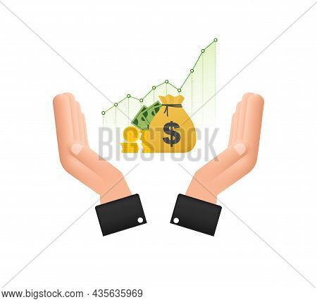 Profit Money Or Budget Icon In Hands. Cash And Rising Graph Arrow Up, Concept Of Business Success. C