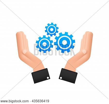 System Software Update Or Upgrade Concept With Hands. Banner New Update, Badge, Sign. Vector Illustr