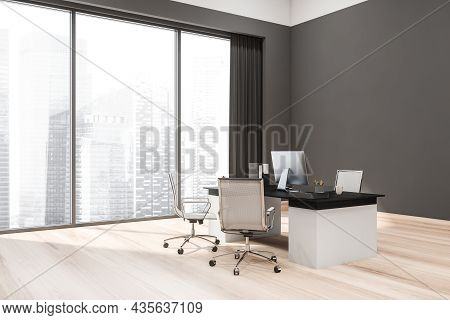 Corner View Of Grey Office Interior With Manager Working Place, Two Seats For Visitors, Light Wood F