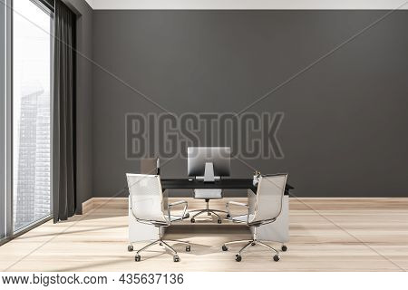 Grey Office Interior With Empty Wall, Manager Working Place, Two Additional Rolling Chairs, Panorami