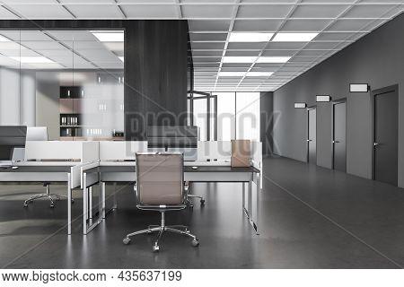 Combined Office Desk Interior With Beige Office Chairs. Three Doors With Dark Grey Corridor Design,