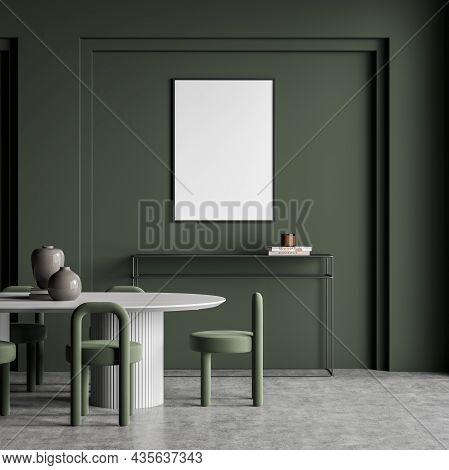 Empty White Canvas On Green Wall Of Living Room Interior With White Table, Chairs, Frame Sideboard U