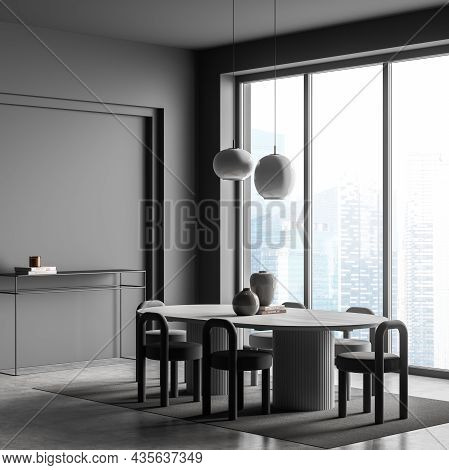 Panoramic Dining Room Interior With Oval Table, Six Chairs And Two Pendant Lights. Grey Design, Usin