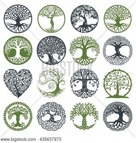 Collections Tree Vector Logo, Icon. Nature Trees Vector Illustration Logo Design. Green Spring Tree
