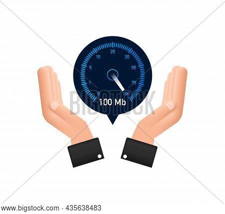 Set Speed Test In Hands. Speedometer Internet Speed. Website Speed Loading Time. Vector Illustration