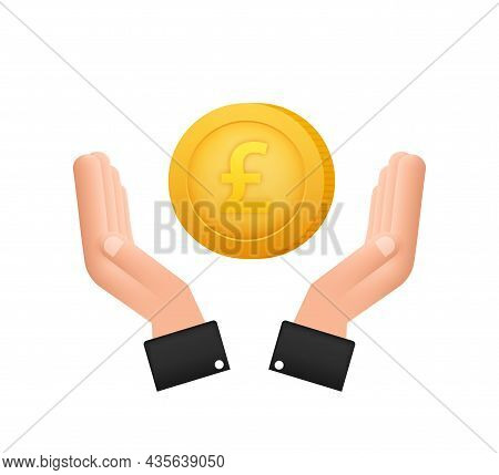 3d Icon With Gold Hand With Lira Coin For Concept Design. Simple Vector. Financial Icon Set. Busines