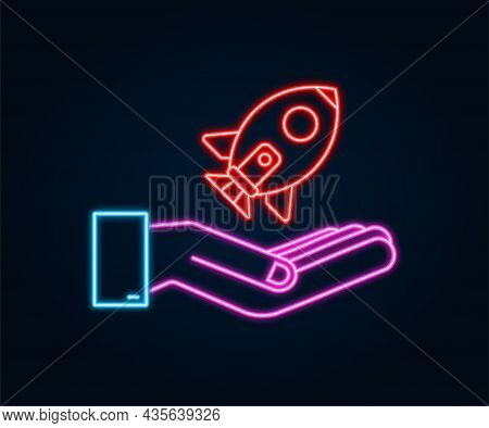 Rocket Start Up Concept In Hands. Neon Icon. Vector Illustration.