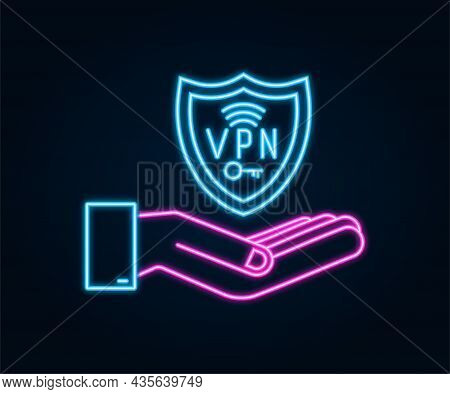Secure Vpn Connection Concept With Hands. Hnads Holding Vpn Neon Sign. Virtual Private Network Conne