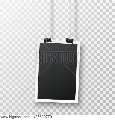 Realistic Blank Vertical Photo Frame Hanging On A Clip Isolated On Transparent Background. Black Emp