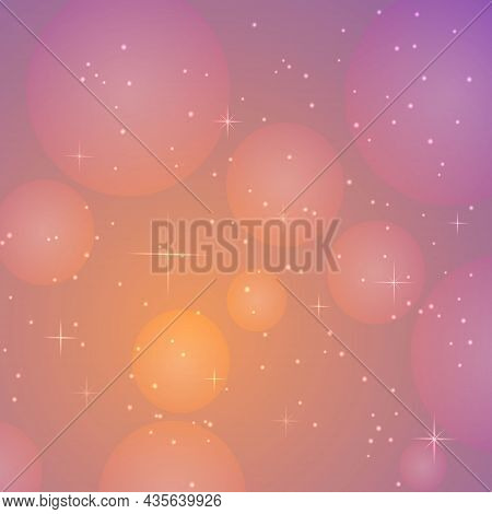 Vector Illustration Of Square Background With Starry Light, Pink, Yellow Sky, Bright Stars, Galaxies