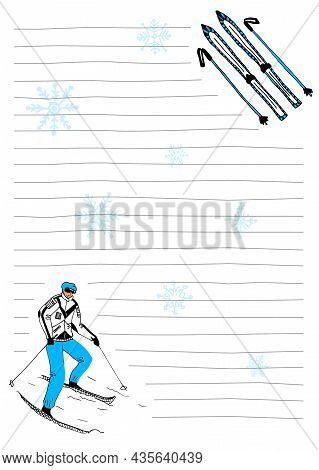 Vector Layout Of A Notepad Sheet In A6 Format In Lines That Are Drawn Uneven. Edges Are Decorated Wi