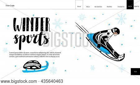 Vector Layout Of Landing Page, Homepage With Buttons, Lettering Winter Sports, A Man On Sleigh In Mo
