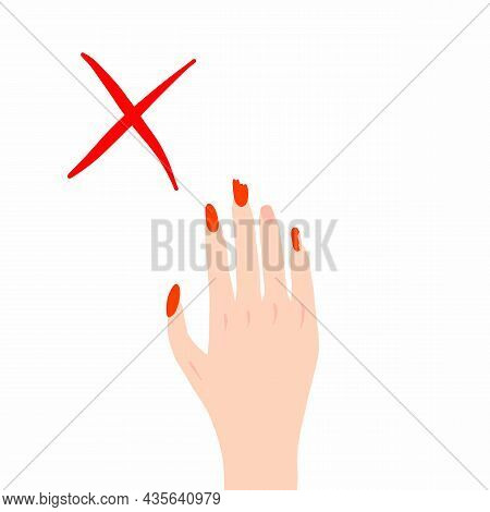 Brittle Nails, Female Hand With Thin Broken Nails. Vector Illustration, Hand Drawn Doodle