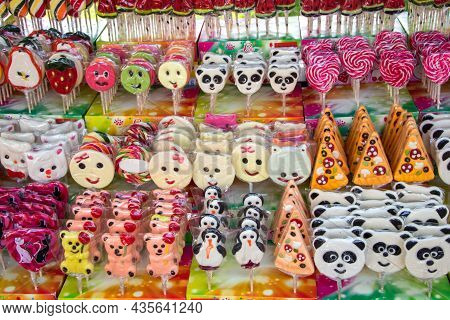 Yaremche Ukraine. 25 June 2021: Colorful Swirl Lollipops At Confectionery. Sweet Candy For Kids Part