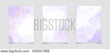 Purple Lavender Liquid Watercolor Background With Golden Lines. Pastel Violet Marble Alcohol Ink Dra