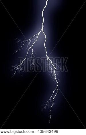 Lightning Bolts Isolated On Black Background. Thunder Electric Strike. Thunderstorm And Lightning