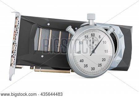 Stopwatch With Video Card, 3d Rendering Isolated On White Background