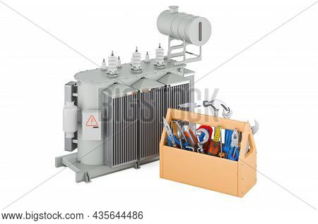 Transformer Oil With Toolbox. Service And Repair Of Oil-filled Transformer, 3d Rendering Isolated On