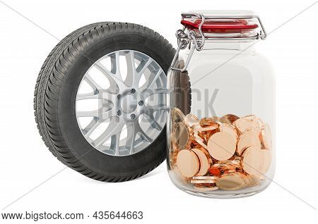 Car Wheel With Glass Jar Full Of Golden Coins, 3d Rendering Isolated On White Background