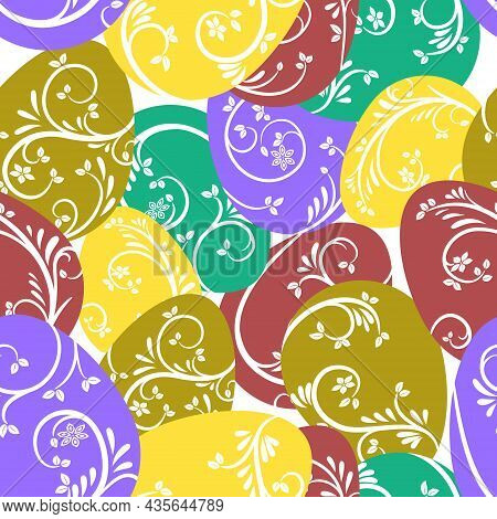 Seamless Pattern. Multicolored Eggs With A Beautiful Elegant Pattern. Bright Design For Easter Holid