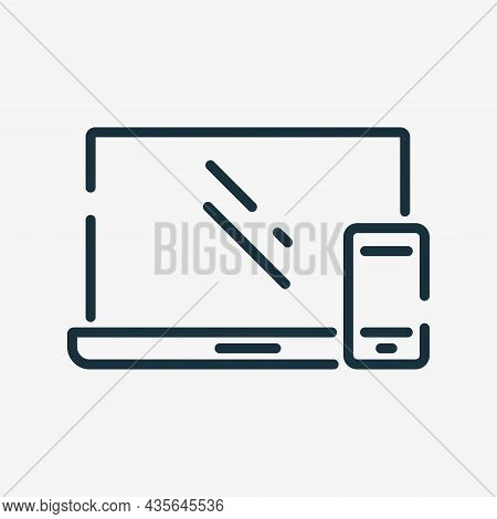 Smartphone And Laptop Line Icon. Connected Or Sync Of Devices Linear Pictogram. Synchronization Of M