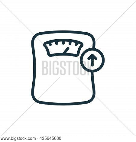 Weighing Machine Line Icon. Weight Gain Concept. Weight Control Concept Linear Pictogram. Bathroom F