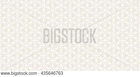 Wide Floral Geometric Grid Pattern. Seamless Luxury Linear Gold Ornament With Flower, Diamond Shapes