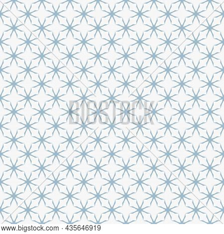 Floral Seamless Pattern. White And Blue Abstract Geometric Background With Vintage Silhouettes. Simp