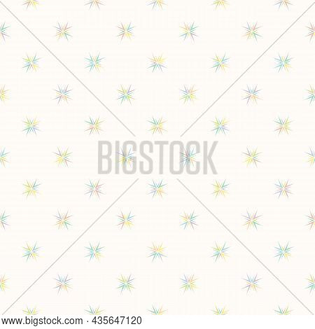 Floral Geometric Vector Pattern. Abstract Seamless Colorful Ornament With Stars. Funky Minimal Textu