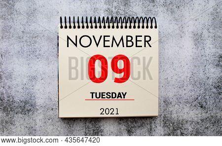 Save The Date Written On A Calendar - November 9.