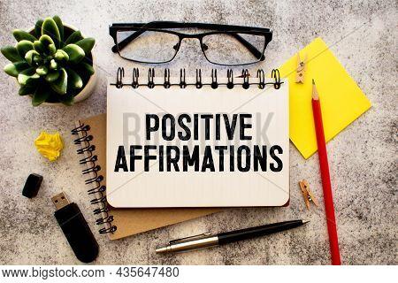 Positive Affirmations - File Cabinet Label, Bronze Holder Against Grunge And Scratched Wood
