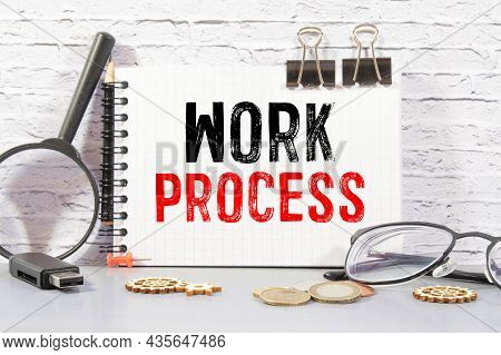 Work Process Words On Card With Keyboard And Office Tools.
