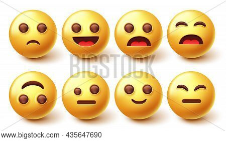 Emoji Character Vector Set. 3d Emoticon With Happy, Sad And Cute Face Emotion Isolated In White Back