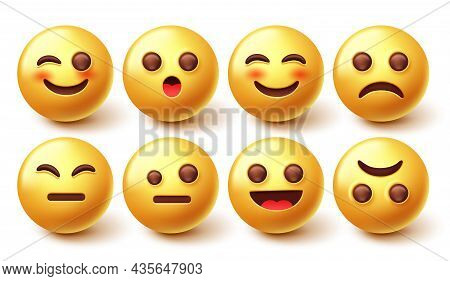 Emoji Characters Vector Set. Emoticon 3d Character Design In Happy And Sad Face Collection Isolated