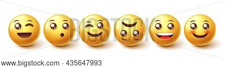 Emojis Character Vector Set. Emoji Face Reaction Collection In Yellow Icon Faces Isolated In White B