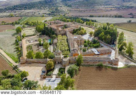 Panoramic Aerial View Of Veruela Abbey Royal Monastery Of Santa Maria De Veruela, Vera De Moncayo, Z