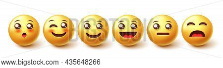 Emoji Characters Vector Set. Emoticon 3d Character In Happy And Smiling Reactions In Yellow Face Des