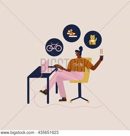 Black Women Shopping Online, Browsing Bicycle, Home Decor And Apparel By Laptop App, Having Leisure