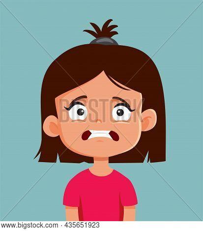 Little Girl Looking Scared Vector Cartoon Illustration