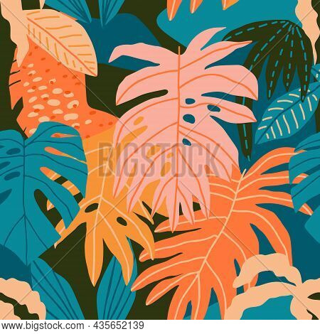 Modern Floral Tropical Hawaiian Seamless Pattern In Vector.