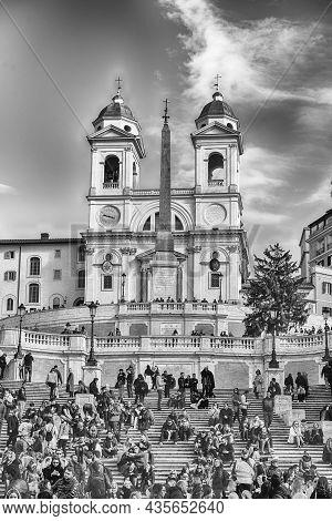 Rome - November 18: Church Of Trinita Dei Monti, Iconic Landmark At The Top Of The Spanish Steps In